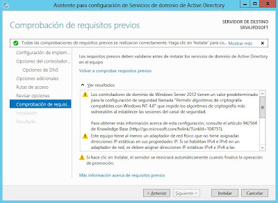 Instalar rol de Servicios de dominio de Active Directory en Windows Server 2012