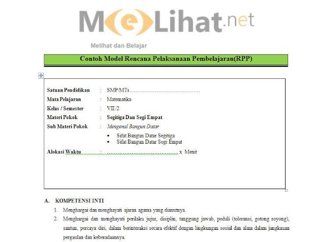 RPP Matematika SMP-MTs Kurikulum 2013 Kelas VII-7 Terbaru