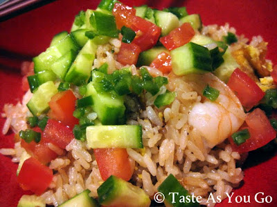Shrimp Fried Rice with Fiery Lime Sauce - Recipe Courtesy of Johnny Mango World Cafe & Bar in Cleveland, OH - Photo by Michelle Judd of Taste As You Go