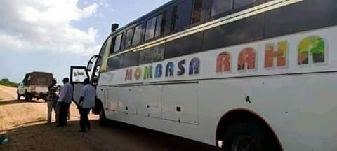 Mombasa Raha bus that was shot tires. PHOTO | BMS