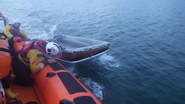 Poole ILB retrieves derelict vessel by Aunt Betty Buoy - 15 August 2015.  Photo credit: Neil Ceconi