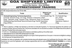 Goa Shipyard Limited Apprenticeship Training 2018 www.indgovtjobs.in