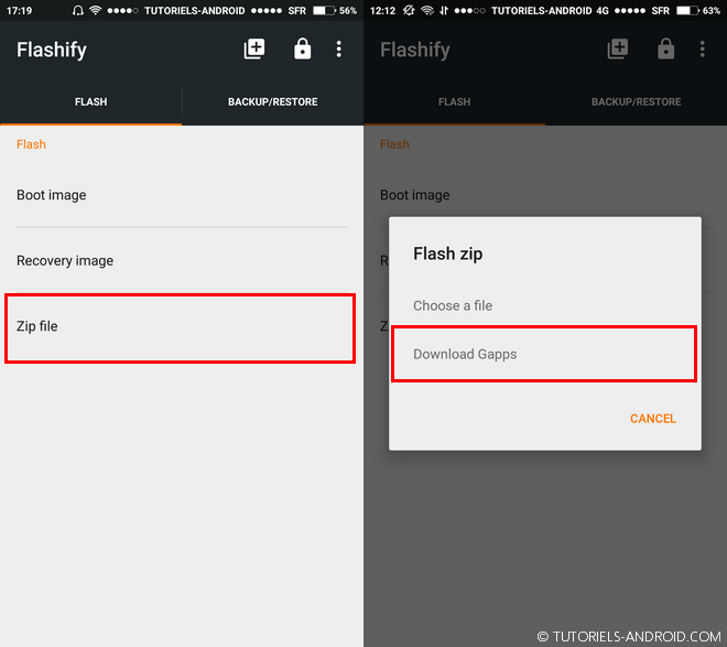 Flasher les Gapps Android avec Flashify