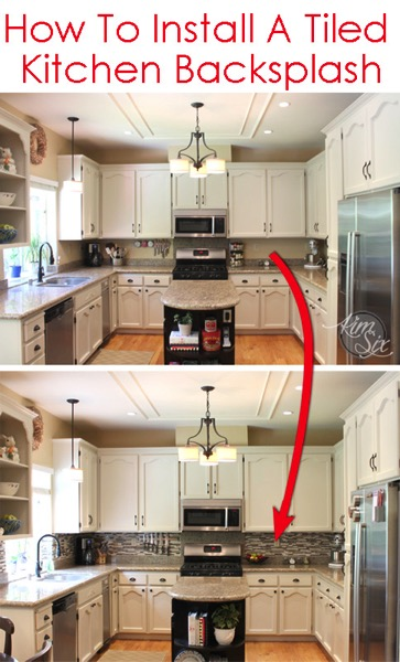 How to tile a kitchen backsplash using pencil tile a - How to replace backsplash ...