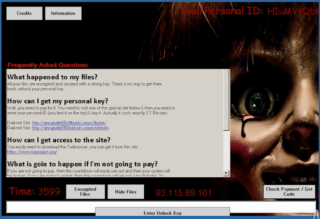 Annabelle ransomware lock screen