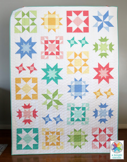 Clear Sky quilt pattern by Andy of A Bright Corner - a modern sampler style star quilt