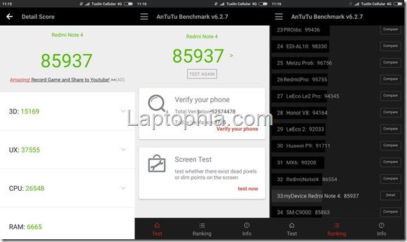Benchmark AnTuTu v6 Xiaomi Redmi Note 4