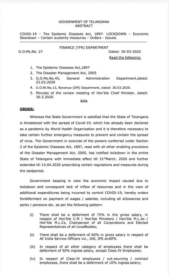 Telangana government cuts salaries of state employees to 75% for MLAs, 60% for IAS officers and 50% for remaining employees to cover state economy