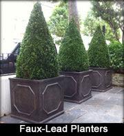 Faux Lead Fibreclay Planters