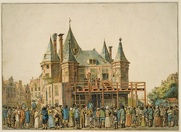 A depiction of De Waag when it added a guillotine to the front.  Photo: Stadsarchief Amsterdam.