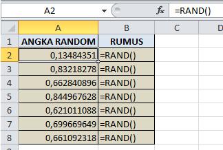 Contoh Rumus RAND Di Excel