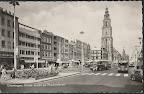 Groningen. Grote markt en Martinitoren, gebouw voor de Martinitoren Amsterdamsche Bank. Gelopen gestempeld in 1960.