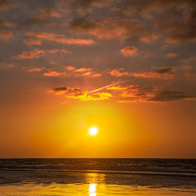Sunday Morning Sunrise by Simon West - Landscapes Sunsets & Sunrises ( clouds, shore, orange, sand, uk, united, wales, waves, set, pembrokeshire, sea, beach, coastal, coast, sun, red, kingdom, sunset, rise, tide, south, sunrise, amroth )