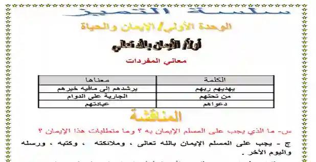 مذكرة دين للصف الثانى الثانوى ترم اول 2021