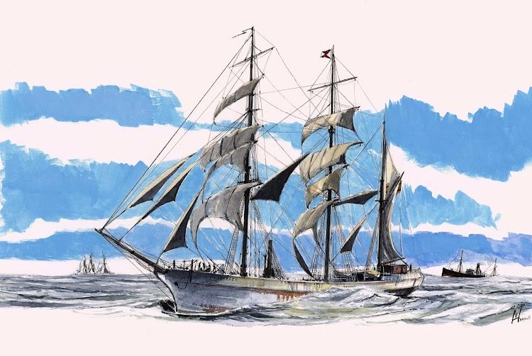 La barca SUAREZ NUMERO 2 en navegación. Acuarela de Roberto Hernandez. El Ilustrador de Barcos. Nuestro agradecimiento.jpg