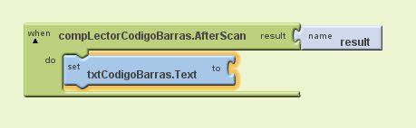 Editor de Bloques de la aplicación AjpdSoft Lector Códigos de Barras Android en Google App Inventor