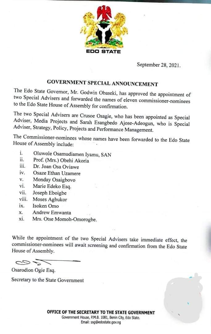 Obaseki Appoints Two Special Advisers And Eleven Commissioner Nominees