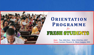 OOU 2017/2018 Orientation & Matriculation Ceremony for Fresh Students