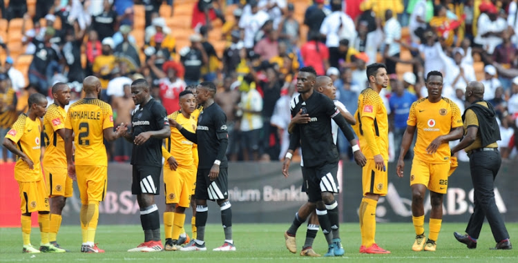 Players Shaking Hands During The Absa Premiership Match Between Orlando Pirates And Kaizer Chiefs At Fnb