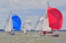 J/22 one-design sailboats- sailing downwind