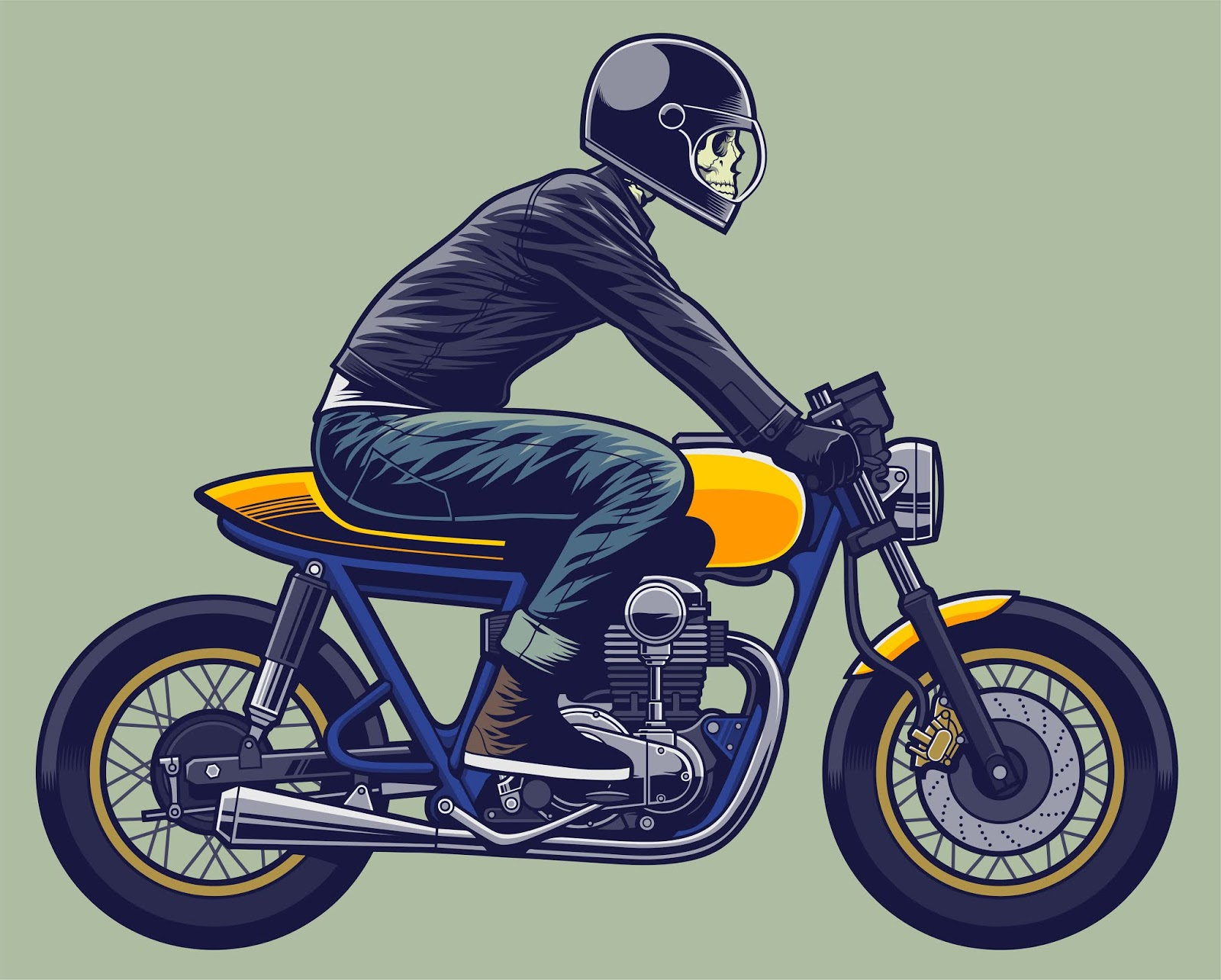 Skull Rider Illustration Skeleton Motorcycle Free Download Vector CDR, AI, EPS and PNG Formats