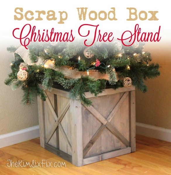 scrap wood box christmas tree stand - Wooden Box Christmas Decorations