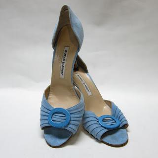 Manolo Blahnik Blue Suede Sedaraby d'Orsay Pumps