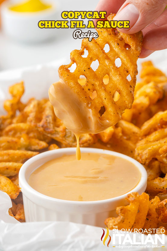chick fil a sauce in a bowl with a fry dipping