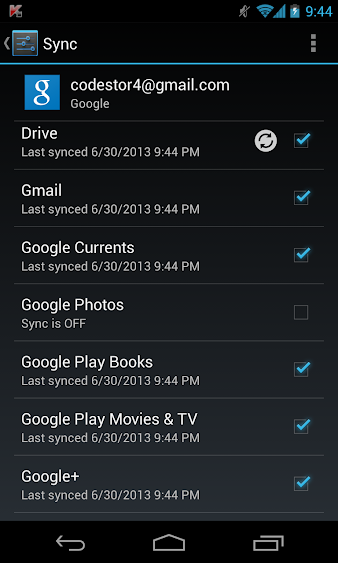 Deselect Google Photos From Sync Options