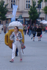 The giant beer suit stalks its prey...