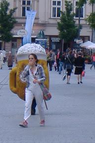 The giant beer suit stalks its prey...