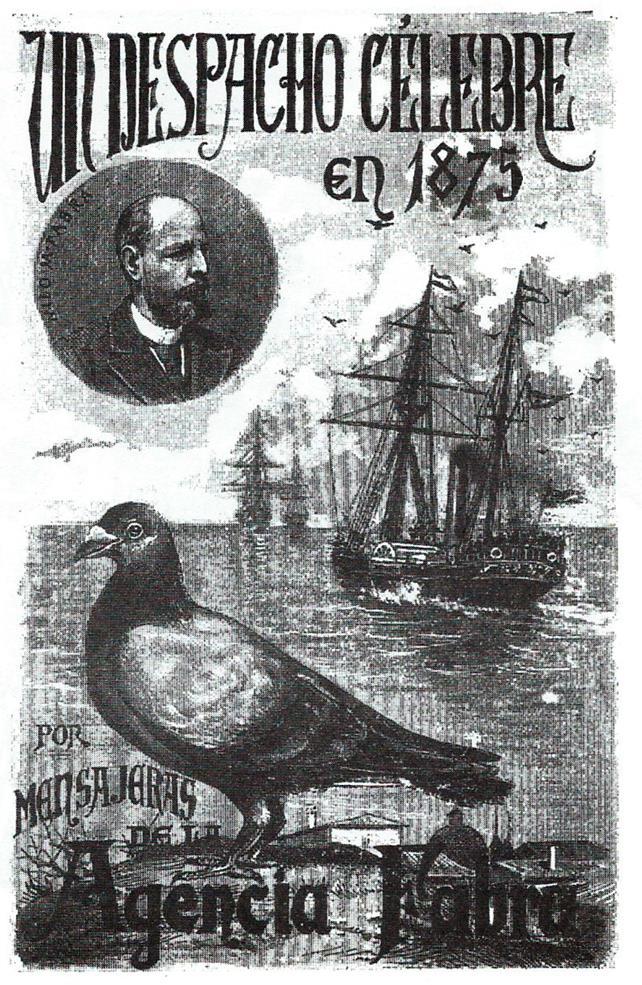 Cartel conmemorativo del primer envio hecho por paloma mensajera en España. La Vanguardia, 19 de octubre de 1974.jpg