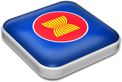Flag of Association of Southeast Asian Nations with metallic square frame