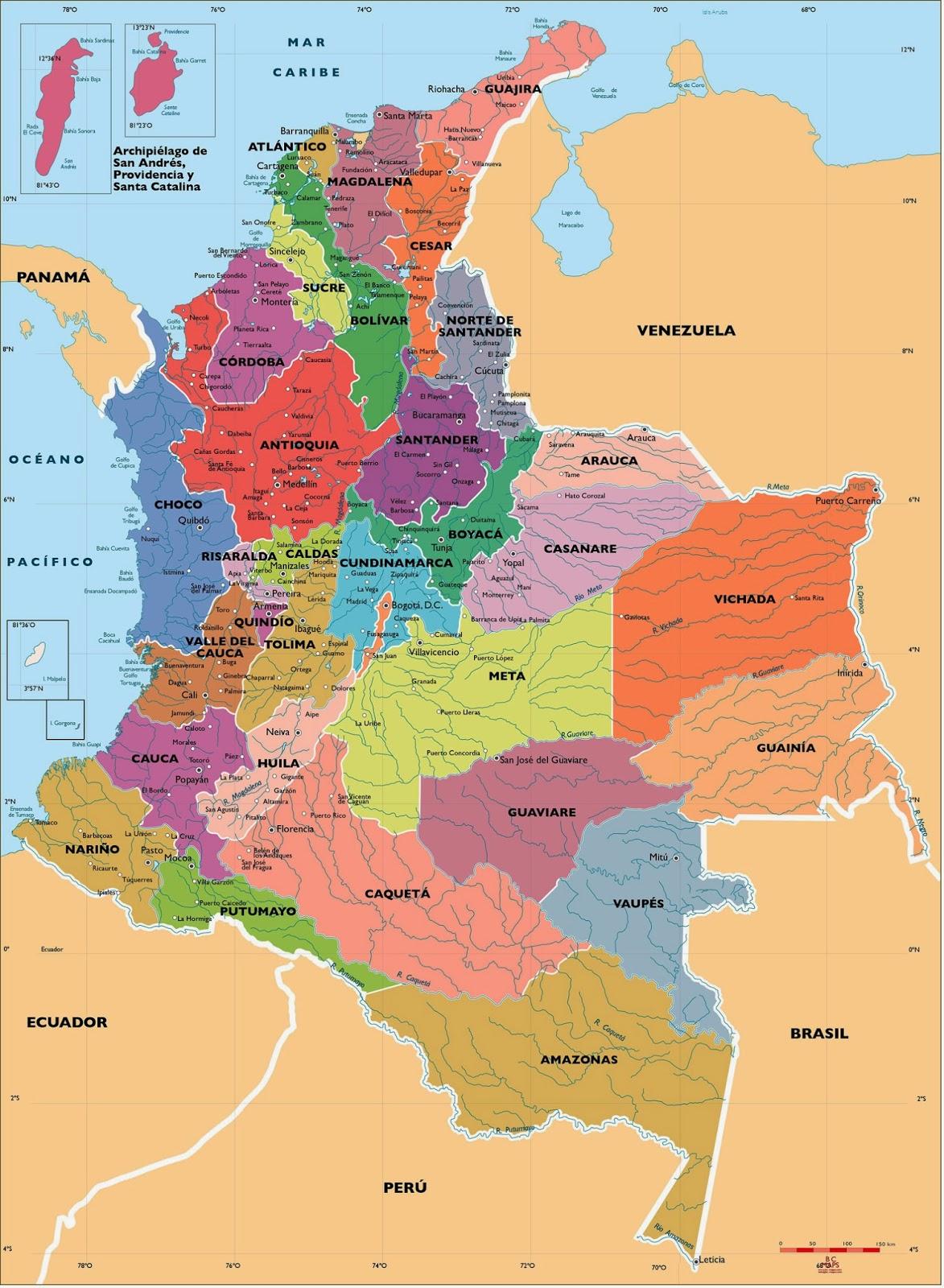 Mapa politico de Colombia hd 5