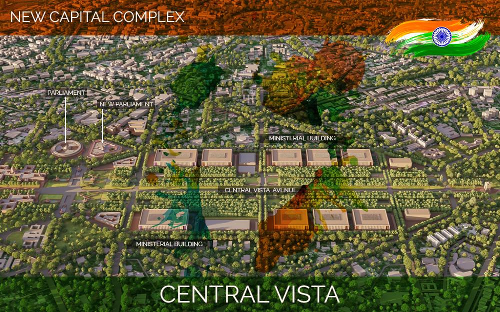 Three dimensional view of new central vista complex