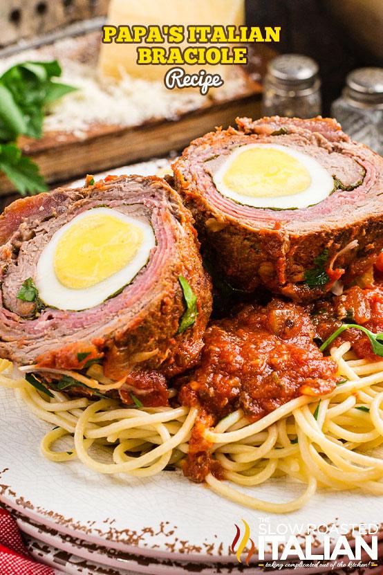 Italian Braciole Recipe over pasta in a bowl