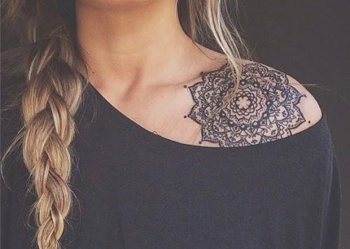 mandala shoulder tattoos
