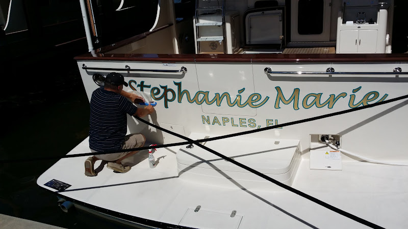 gold leaf boat lettering stephanie marie