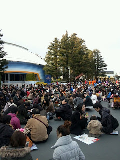 People wait out their fate after Earthquake at Tokyo Disneyla... on Twitpic