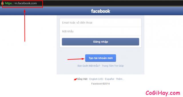 truy cập vào trang đăng ký facebook bằng số di động