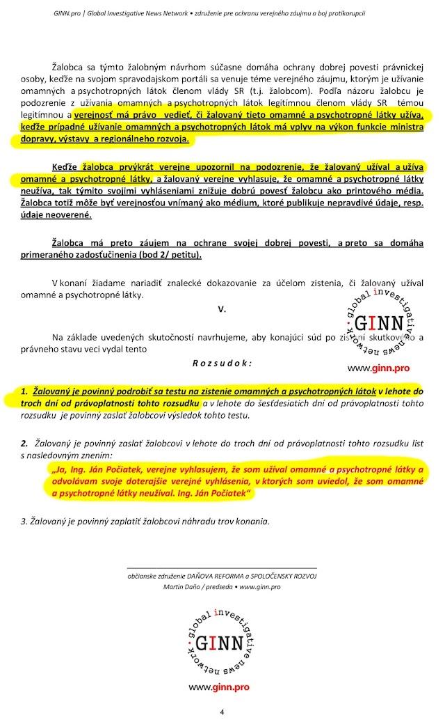 Zaloba GINN proti Ján Počiatek, 4. strana