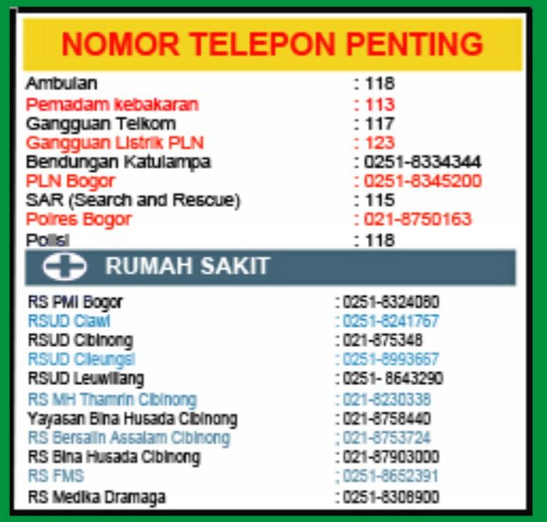 No Telepon Penting