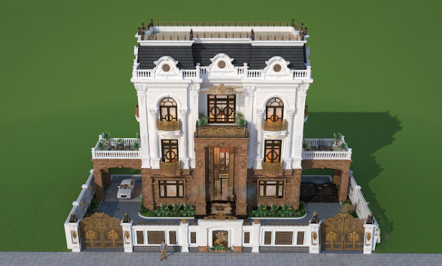 Biệt thự cổ điển ba tầng đẳng cấp trên mảnh đất Thái Bình