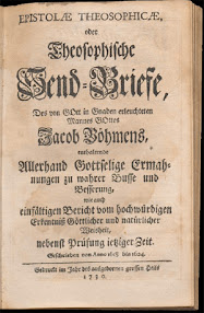 Cover of Jakob Bohme's Book Epistolae Theosophicae Oder Theosophische Send Briefe (1730,in German)