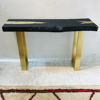 Live Edge and Cast Metal Console Table