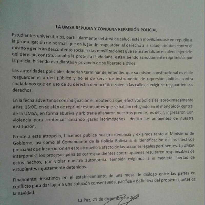 La UMSA repudia y condena la represión policial contra los universitarios