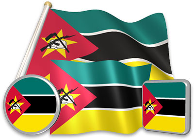Mozambican flag animated gif collection