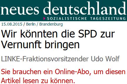 Udo Wolf: Wir könnten die SPD zur Vernunft bringen