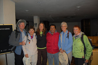 "Photo: The next morning our group splits up. Marcia and I will head to the Peruvian Amazon, while the others will trek to the ruined city of Choquequirao, sometimes called ""The other Machu Picchu."" It's a spectacular but demanding 5-day trek. Here they are at 5 am, ready to hit the trail. We wish them the best of luck."