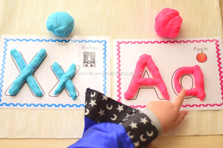 Alphabet Tracing Mats with Playdoh